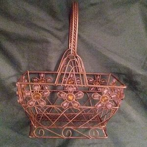 Vintage wire basket with beads